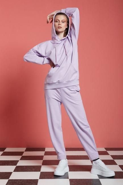 Mizalle - Basic Kapüşonlu Sweatshirt (Lila)