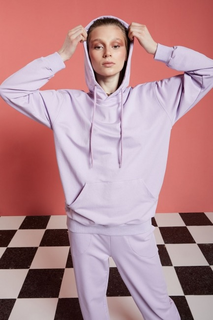 Basic Kapüşonlu Sweatshirt (Lila) - Thumbnail