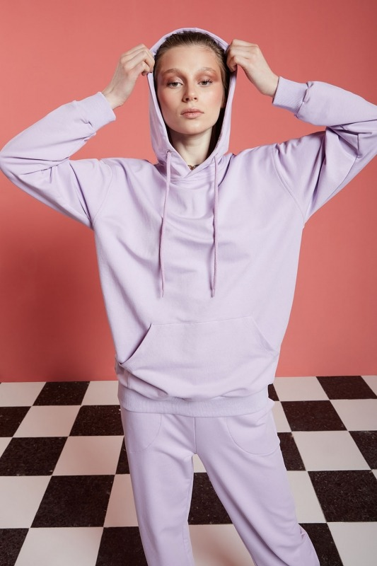 Basic Kapüşonlu Sweatshirt (Lila)