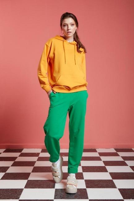 Mizalle - Basic Kapüşonlu Sweatshirt (Mango)