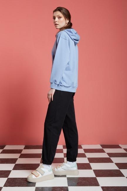 Basic Kapüşonlu Sweatshirt (Mavi) - Thumbnail