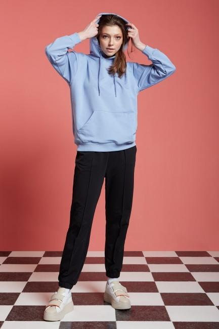 Mizalle - Basic Kapüşonlu Mavi Sweatshirt