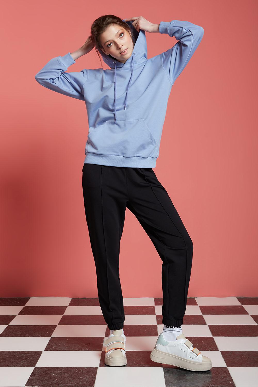 Basic Kapüşonlu Mavi Sweatshirt