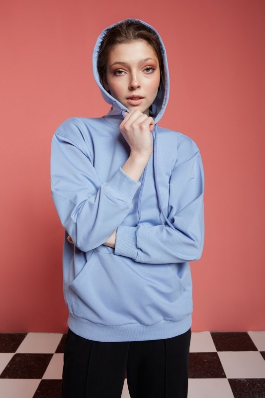 Basic Kapüşonlu Sweatshirt (Mavi)