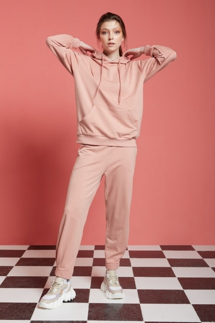 Mizalle - Basic Kapüşonlu Sweatshirt (Nude)