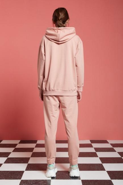 Basic Kapüşonlu Sweatshirt (Nude) - Thumbnail