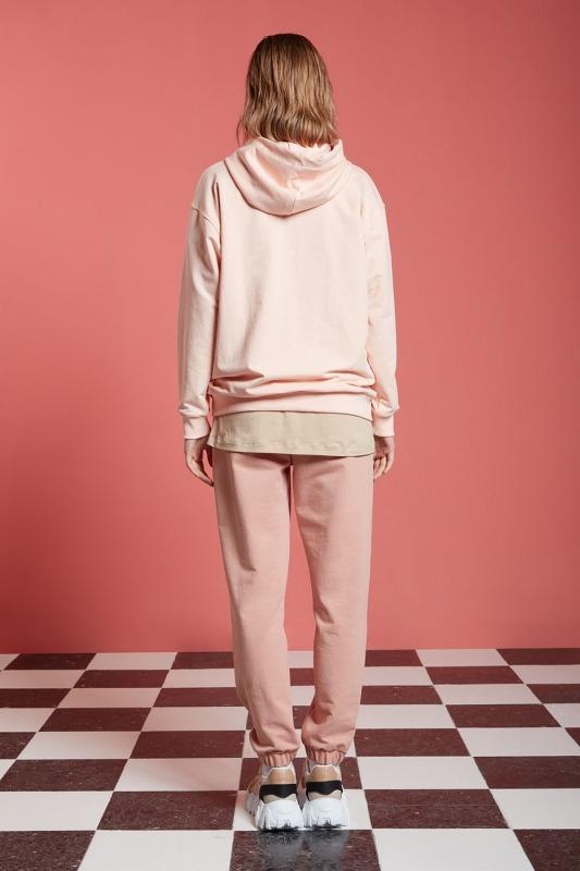 Basic Kapüşonlu Sweatshirt (Pudra)
