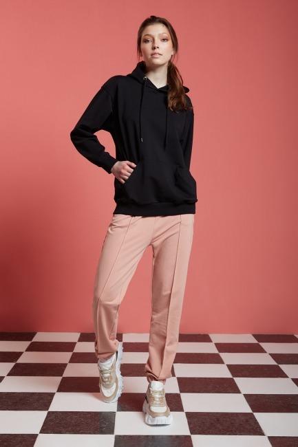 Mizalle - Basic Kapüşonlu Sweatshirt (Siyah)