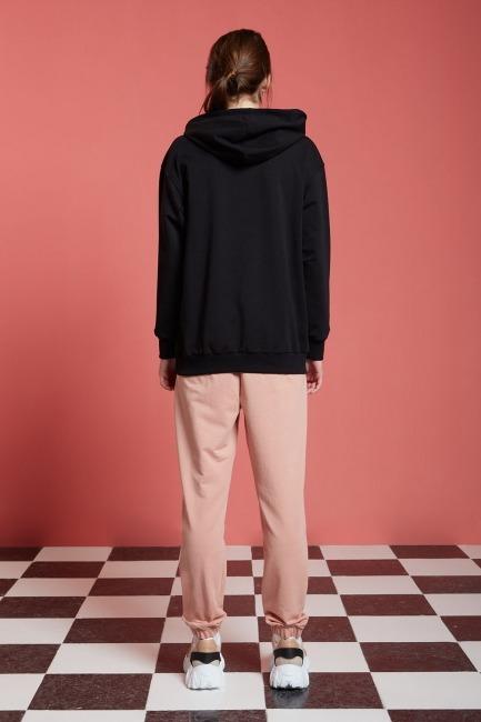Basic Kapüşonlu Sweatshirt (Siyah) - Thumbnail