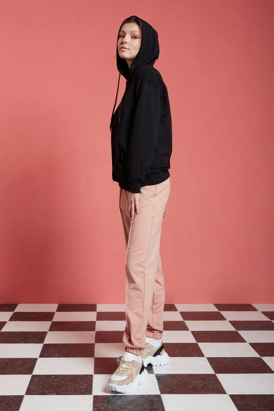 Basic Kapüşonlu Sweatshirt (Siyah)