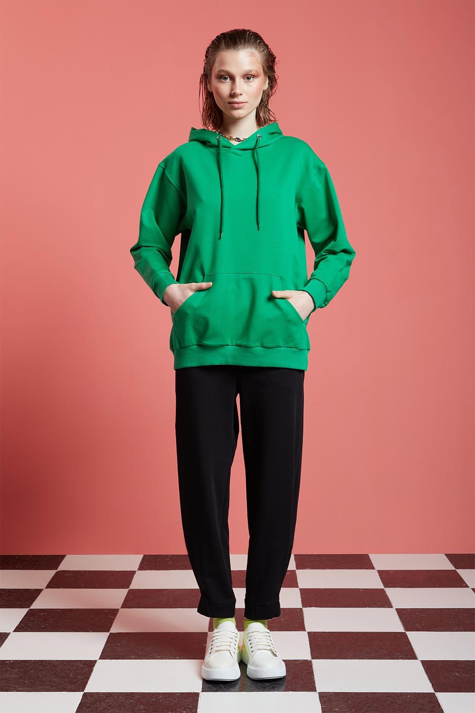 Basic Kapüşonlu Yeşil Sweatshirt