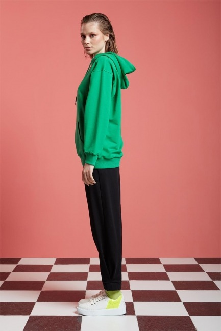 Basic Kapüşonlu Sweatshirt (Yeşil) - Thumbnail