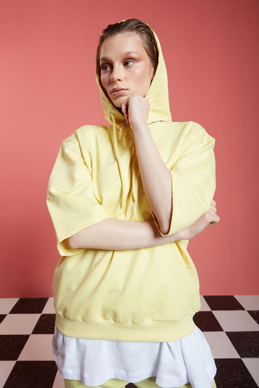 Basic Kısa Kollu Açık Sarı Sweatshirt
