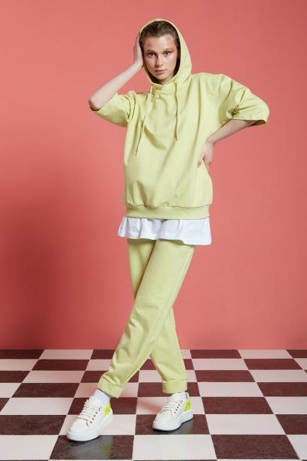 Mizalle - Basic Kısa Kollu Açık Yeşil Sweatshirt