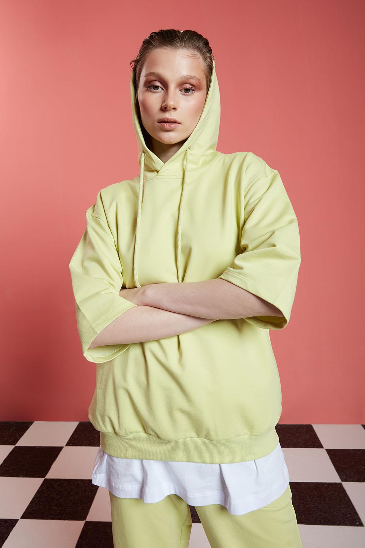Basic Kısa Kollu Açık Yeşil Sweatshirt