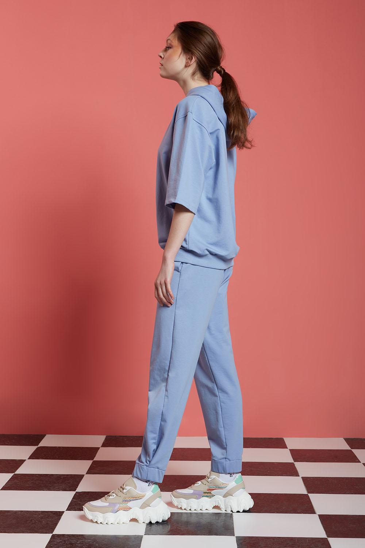 Basic Kısa Kollu Mavi Sweatshirt