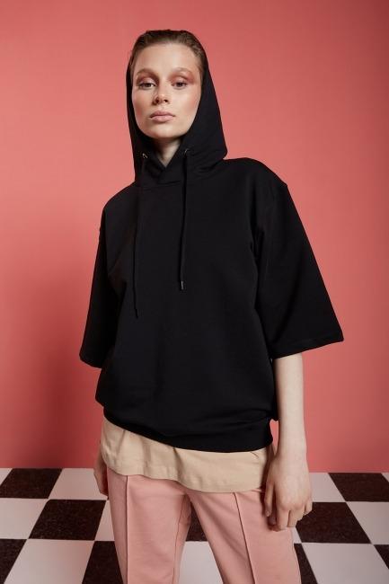 Basic Kısa Kollu Siyah Sweatshirt - Thumbnail