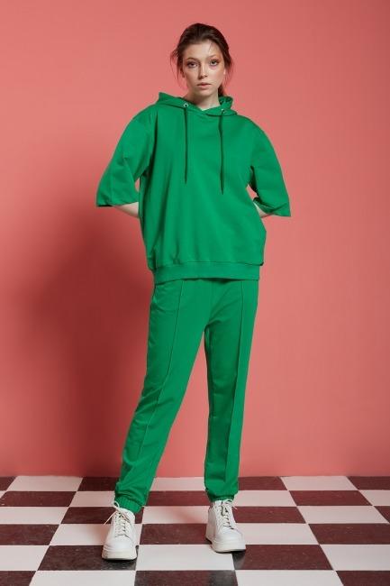 Mizalle - Basic Kısa Kollu Yeşil Sweatshirt