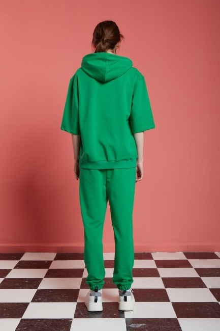 Basic Kısa Kollu Sweatshirt (Yeşil) - Thumbnail