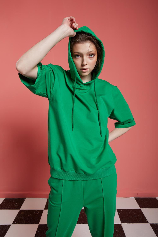 Basic Kısa Kollu Yeşil Sweatshirt