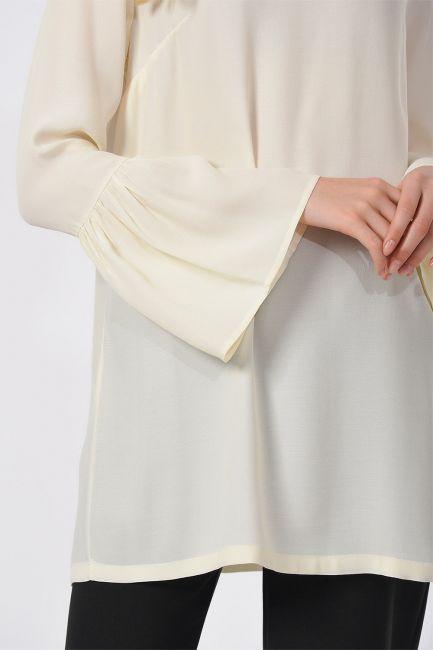 Basic Kolları Volanlı Bluz (Ekru) - Thumbnail