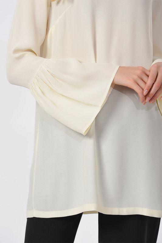 Basic Kolları Volanlı Bluz (Ekru)