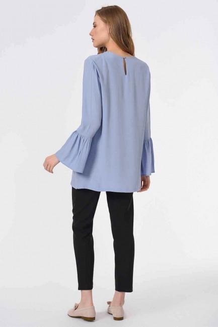 Basic Kolları Volanlı Bluz (Mavi) - Thumbnail