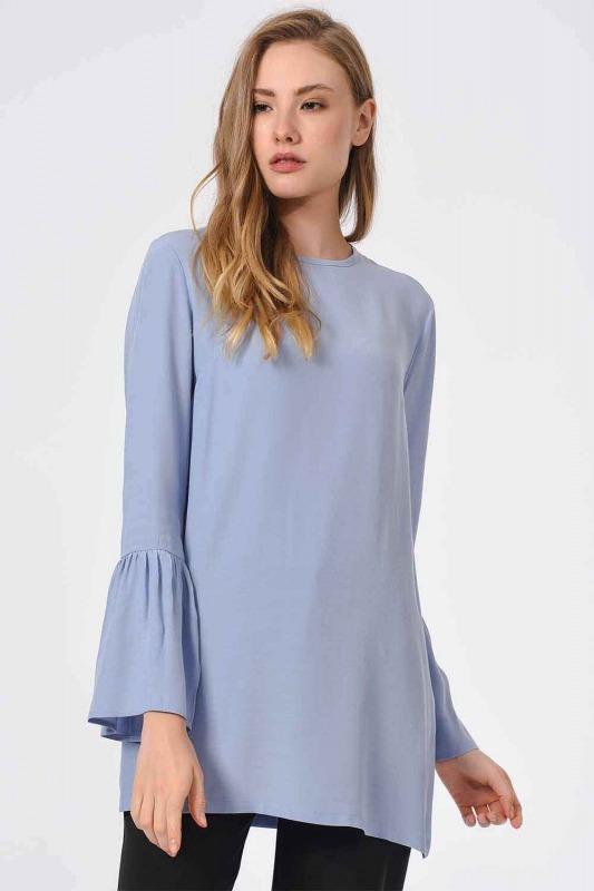 Basic Kolları Volanlı Bluz (Mavi)