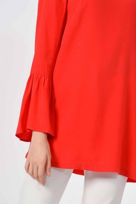 Basic Kolları Volanlı Bluz (Mercan) - Thumbnail