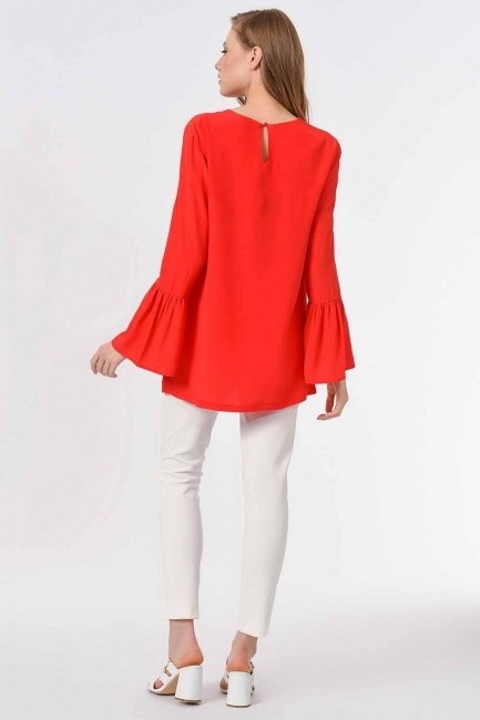 Basic Handle Flywheel Blouse (Coral) - Thumbnail