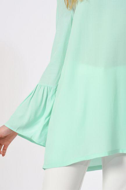 Basic Kolları Volanlı Bluz (Mint) - Thumbnail