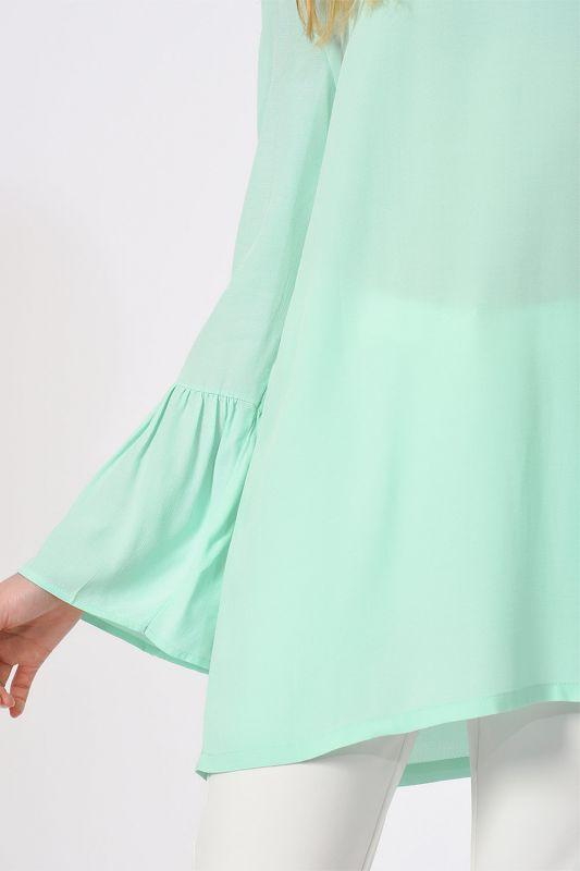 Basic Kolları Volanlı Bluz (Mint)