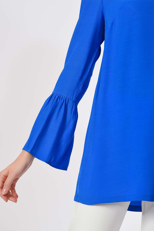 Basic Kolları Volanlı Bluz (Saks)