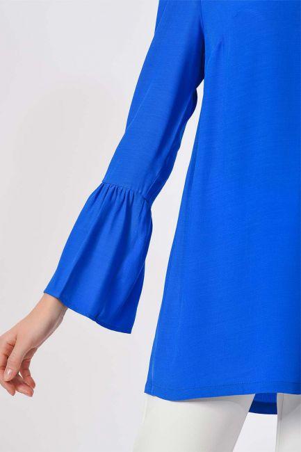 Basic Kolları Volanlı Bluz (Saks) - Thumbnail