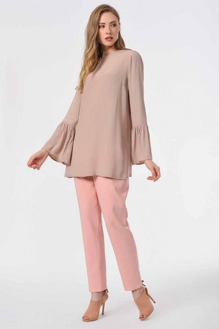 Basic Kolları Volanlı Bluz (Taş) - Thumbnail