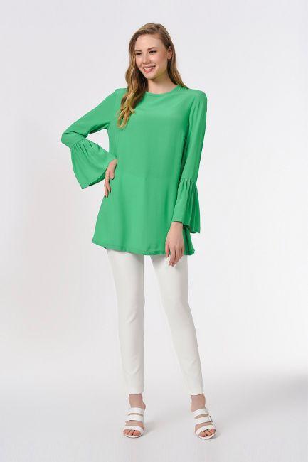 Mizalle - Basic Kolları Volanlı Bluz (Yeşil)