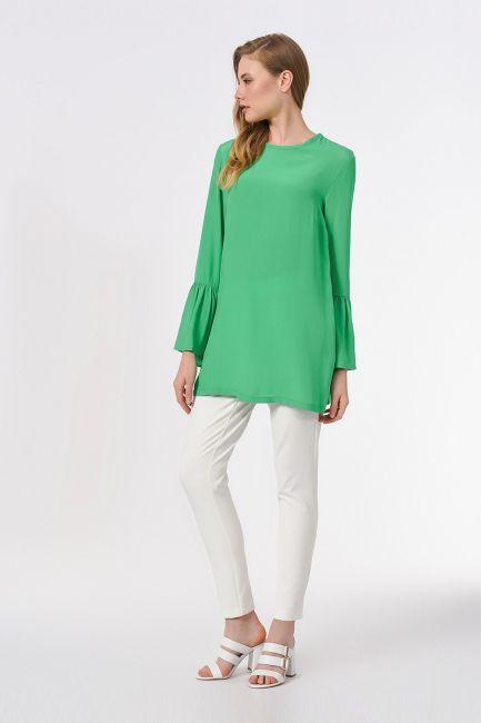 Basic Kolları Volanlı Bluz (Yeşil) - Thumbnail