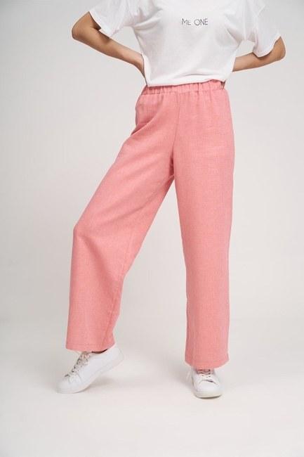 Basic Lastikli Pantolon (Gül Kurusu) - Thumbnail