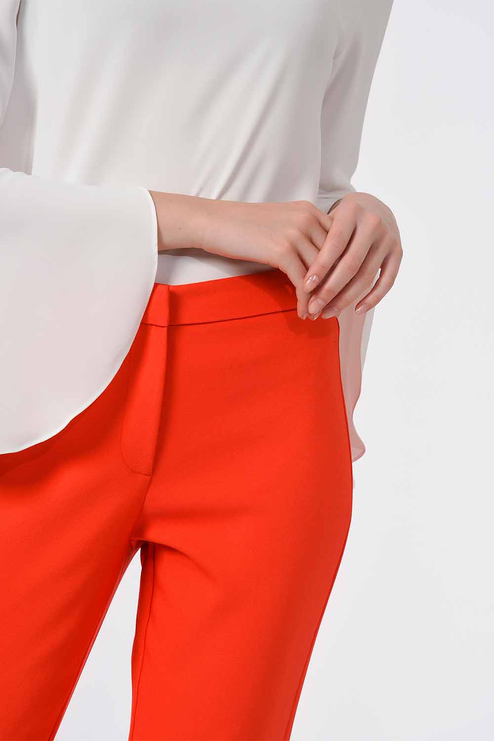 MIZALLE Basic Narrow Trousers (Orange-Red) (1)