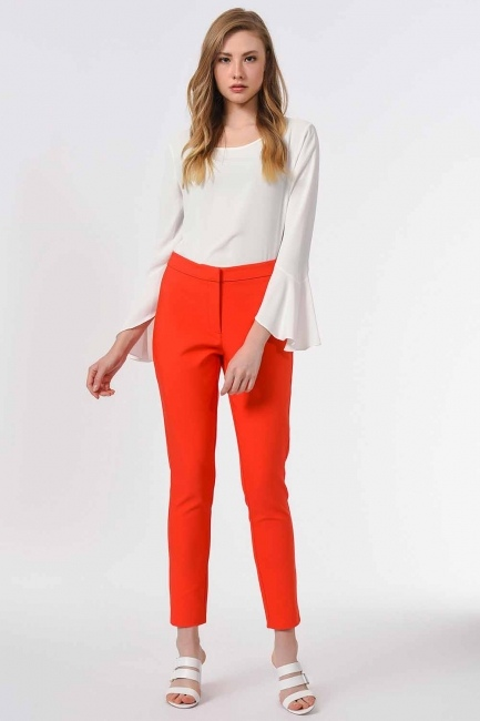 MIZALLE - Basic Narrow Trousers (Orange-Red) (1)