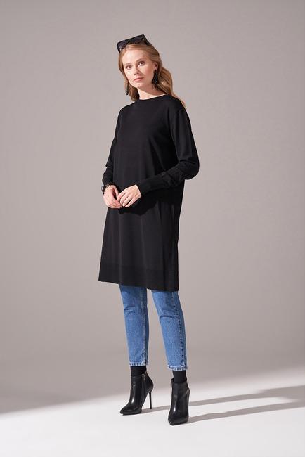 Mizalle - Basic Rayon Triko Tunik (Siyah)