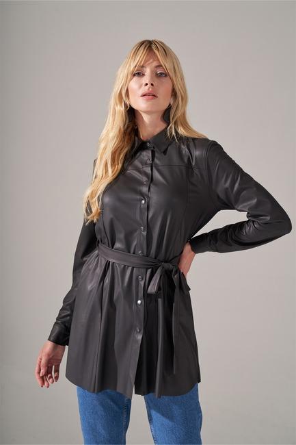 Basic Suni Deri Tunik Gömlek (Siyah) - Thumbnail