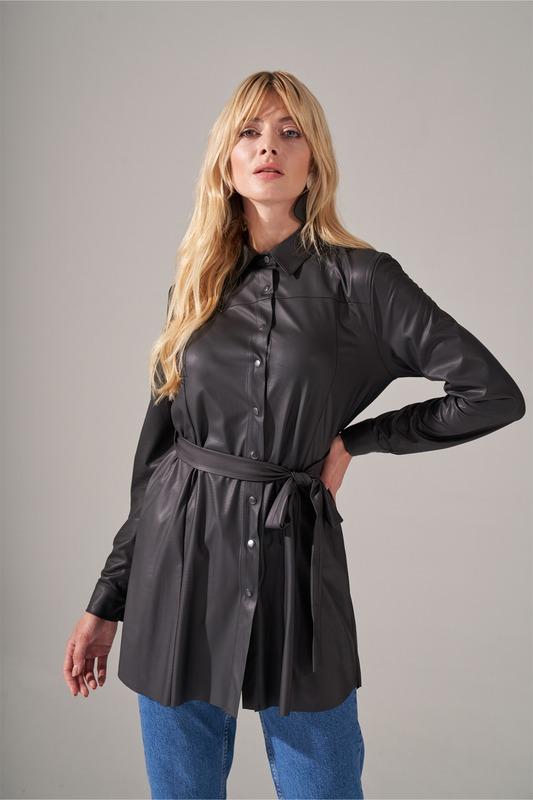 Basic Suni Deri Tunik Gömlek (Siyah)