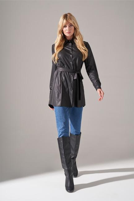 Mizalle - Basic Suni Deri Tunik Gömlek (Siyah)