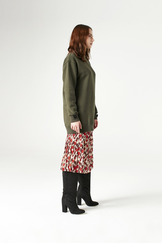 MIZALLE Sequin Detailed Sweatshirt (Khaki) (1)