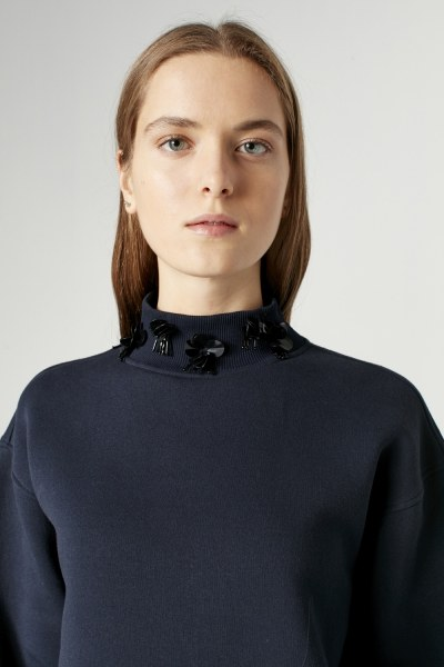 Sequin Detailed Sweatshirt (Dark Blue) - Thumbnail
