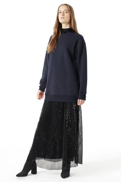 MIZALLE Payet Detaylı Sweatshirt (Lacivert)