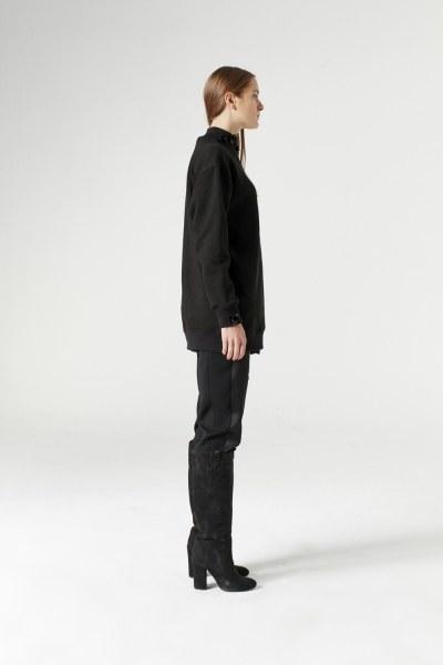 MIZALLE - سويت شريت سادة (أسود) (1)