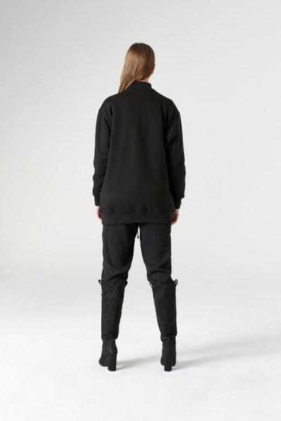 Sequin Detailed Sweatshirt (Black) - Thumbnail