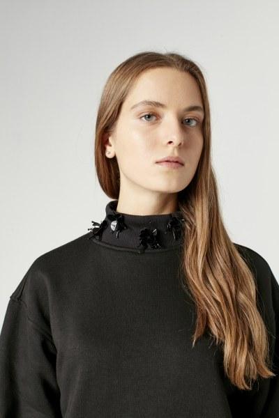 Payet Detaylı Sweatshirt (Siyah) - Thumbnail